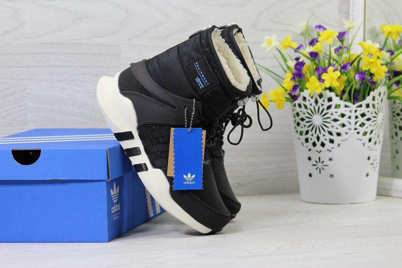 Ботинки Adidas Equipment женские зимние (черно-белые), ТОП-реплика