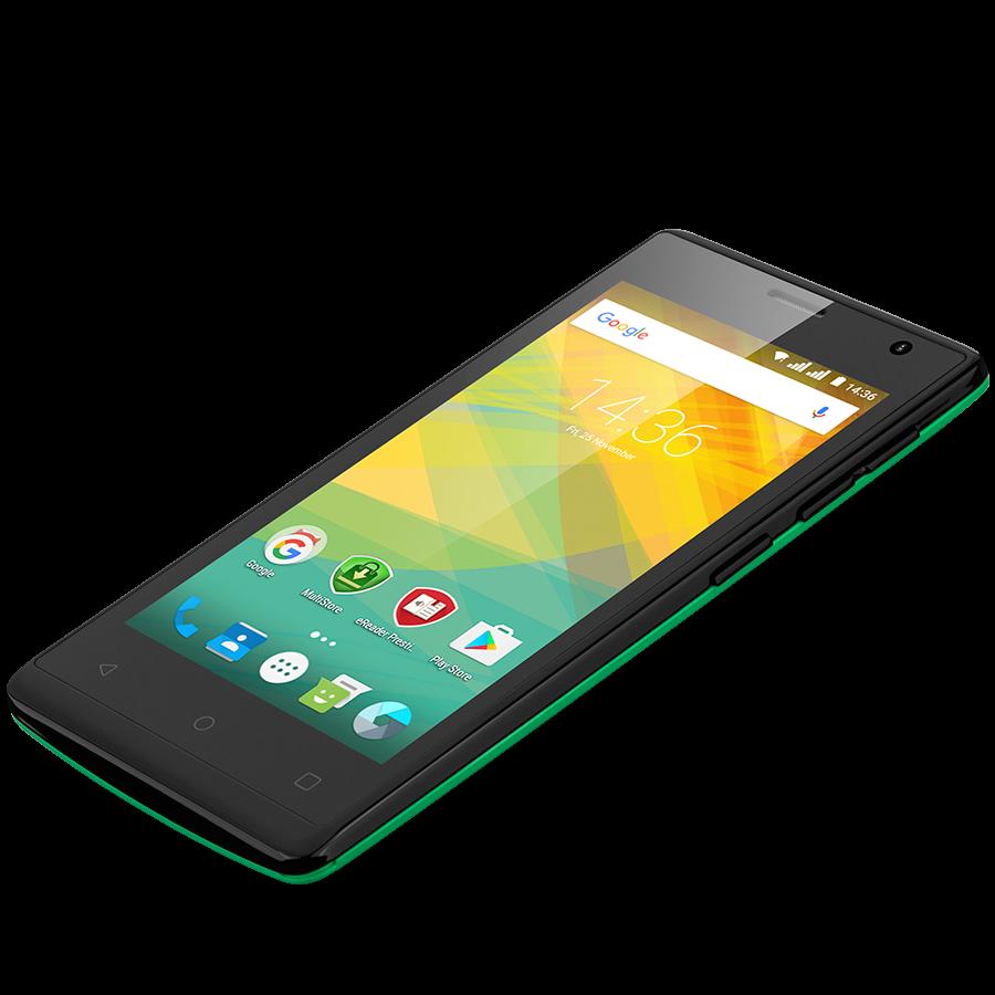 Удобный компактный смартфон на 2 сим карты 4,5 дюйма 4 ядра 0,5/4Gb Prestigio Wize OK3 зелёный