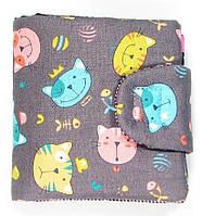 Серый практичный женский кошелек с принтом коты TwinsStore К5