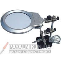 Подставка для паяльника с линзой 130 мм, увеличение 3X (мини-линза 5X 25мм), LED подстветка, Magnifier 16129-B