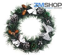 Венок новогодний маленький (30 см) серебро