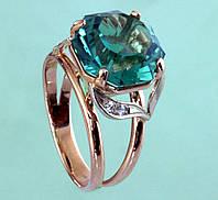 Золотий перстень  з діамантом та кварцем