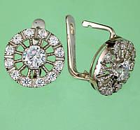 Срібні сережки з корундом та цирконом