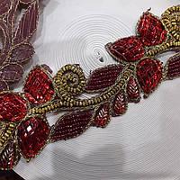 Тесьма зі стразами Квітка темно червона 5 - 5,5см.