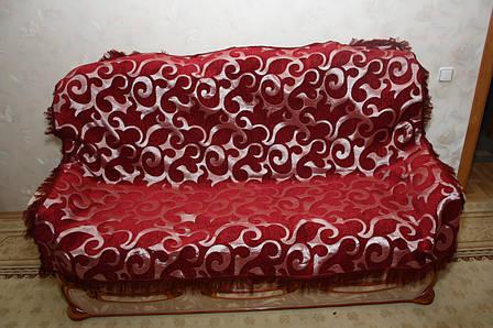 Вензель крупный комплект покрывал на диван и два кресла двуспальный бордовый, фото 2