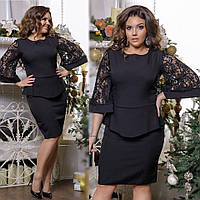308cc4bde8d Нарядное платье с баской рукав 3 4 расклешенный креп костюмка + итальянский  гипюр люрекс 48