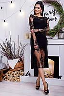 Вечернее черное женское платье с декором