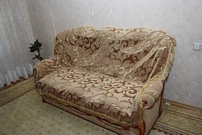 Вензель крупный комплект покрывал на диван и два кресла двуспальный песочный, фото 2