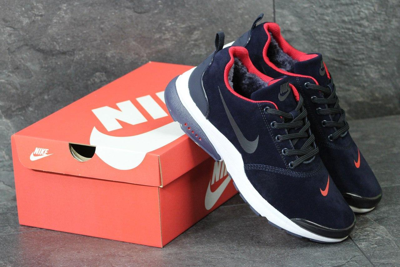 Кроссовки Nike Air Presto мужские зимние (синие с красными вставками), ТОП-реплика