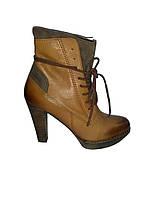 Полусапожки женские кожаные демисезонные коричневые Kati 5563