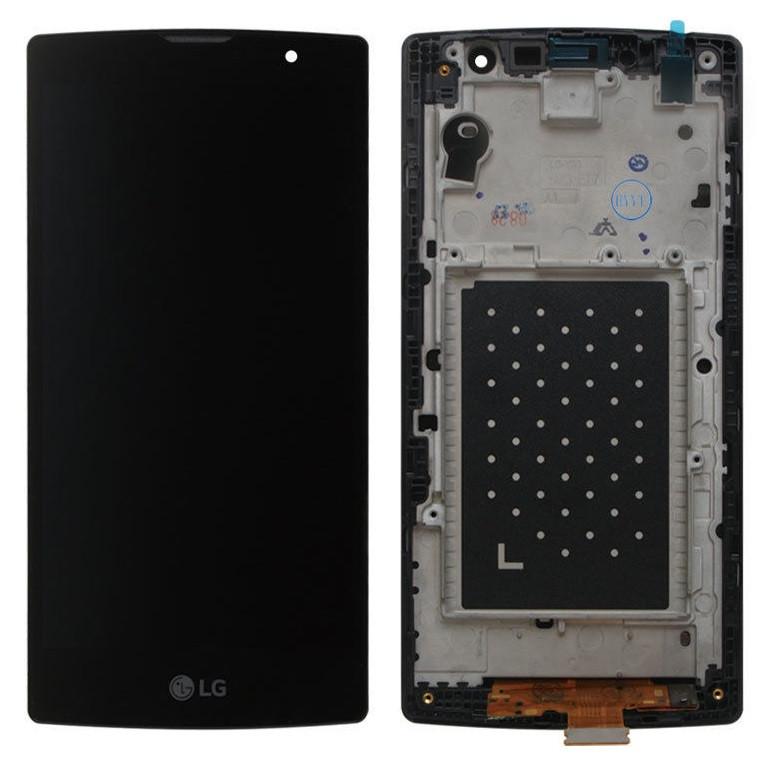 Дисплей (экран) для LG H500 Magna Y90 с сенсором (тачскрином) и рамкой черный Оригинал