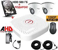 Комплект AHD видеонаблюдения c 2 камерами 2 Мп + HDD 500 Longse 2M2V