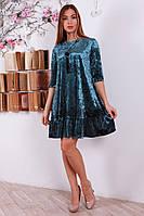 Комфортное мягкое расклешенное велюровое платье