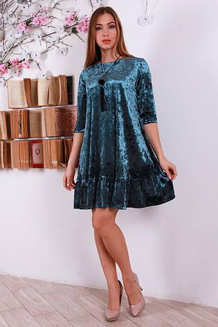 Комфортное мягкое расклешенное велюровое платье, фото 2