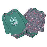 Боди детское с длинным рукавом Кактусы МАМИН ДОМ (размер 62, зеленый и серый)