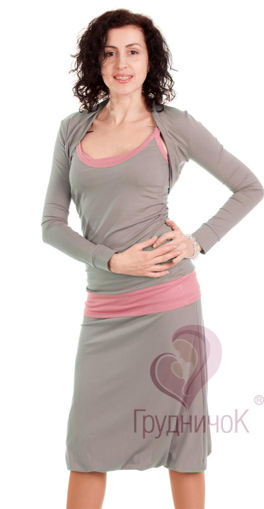 Болеро для беременных и кормящих длинный рукав Серебряное ГРУДНИЧОК (размер 42/44,серый)