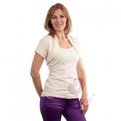 Болеро для беременных и кормящих короткий рукав Молоко ГРУДНИЧОК (размер 46/48,белый)