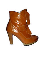 Полусапожки женские демисезонные кожаные на высоком каблуке JANTA 913