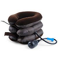Бархатная антистрессовая надувная подушка для шеи, ортопедический воротник
