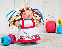 Вязаная кукла Девочка украиночка / красно-белая ФРЕЯ
