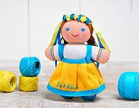 Вязаная кукла Девочка украиночка / жёлто-голубая ФРЕЯ