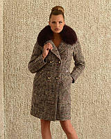 Зимнее пальто женское клетка. код5060-1