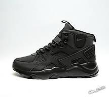Кросівки чоловічі Nike Air Huarache (чорні) зимові (Top replic), фото 3