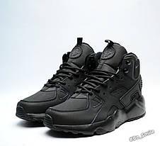 Кросівки чоловічі Nike Air Huarache (чорні) зимові (Top replic), фото 2