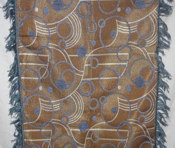 Двуспальный комплект гобеленовых покрывал на диван и кресла Круги песочный с голубым, фото 2