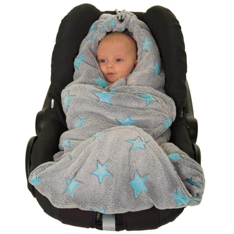Детский многофункциональный флисовый плед HOPPEDIZ (серый с голубыми звёздами)