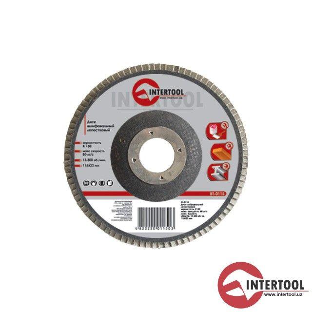 Intertool BT-0204 Диск шлифовальный лепестковый 125 Х 22мм Р40(100/10)