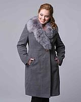 Классическое пальто зимнее шаль. код5057