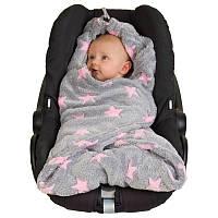 Детский многофункциональный флисовый плед HOPPEDIZ (серый с розовыми звёздами)