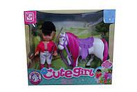"""Кукла маленькая """"Наездница"""", с лошадью,в кор. /72-2/"""