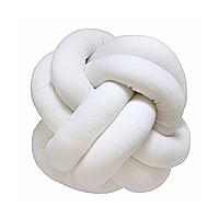 Декоративная подушка узел, белая 25 см