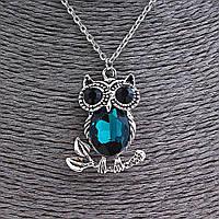 Кулон на цепочке Сова на ветке средняя, цепочка 50 см, цвет синий, серебро