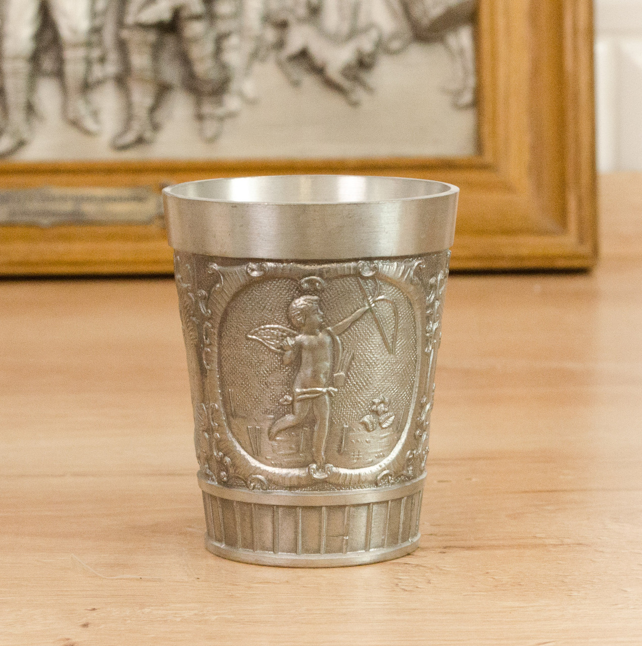 Коллекционный оловянный бокал для шнапса, пищевое олово, Германия, 120 мл