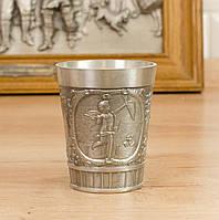 Коллекционный оловянный бокал для шнапса, пищевое олово, Германия, 120 мл, фото 1