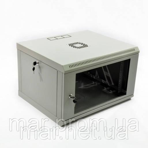 Шкаф 6U, 600x500x373мм (Ш * Г * В), эконом, акриловое стекло, серый