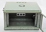 Шкаф 6U, 600x500x373мм (Ш * Г * В), эконом, акриловое стекло, серый, фото 3