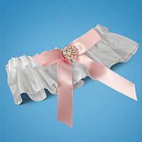 Подвязка невесты с розовым бантиком и брошкой, свадебная подвязка, купить