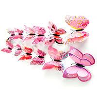 3D бабочки на холодильник ,для штор с магнитом и двойными крылышками Розовые (076114)