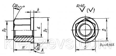 Схема габаритных размеров гайки ГОСТ 8918-69
