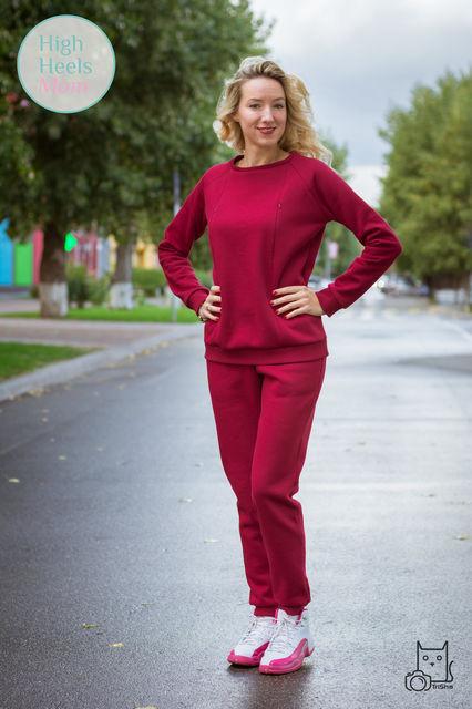 Тёплый костюм для беременных и кормящих мам HIGH HEELS MOM (бордовый, размер M)