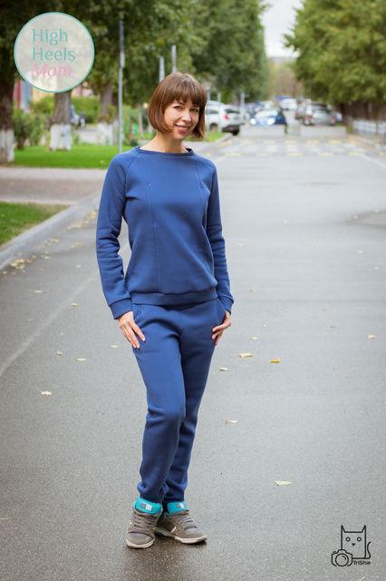 Тёплый костюм для беременных и кормящих мам HIGH HEELS MOM (синий, размер M)