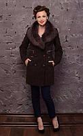 Пальто зимнее женское воротник шаль. код5064-14