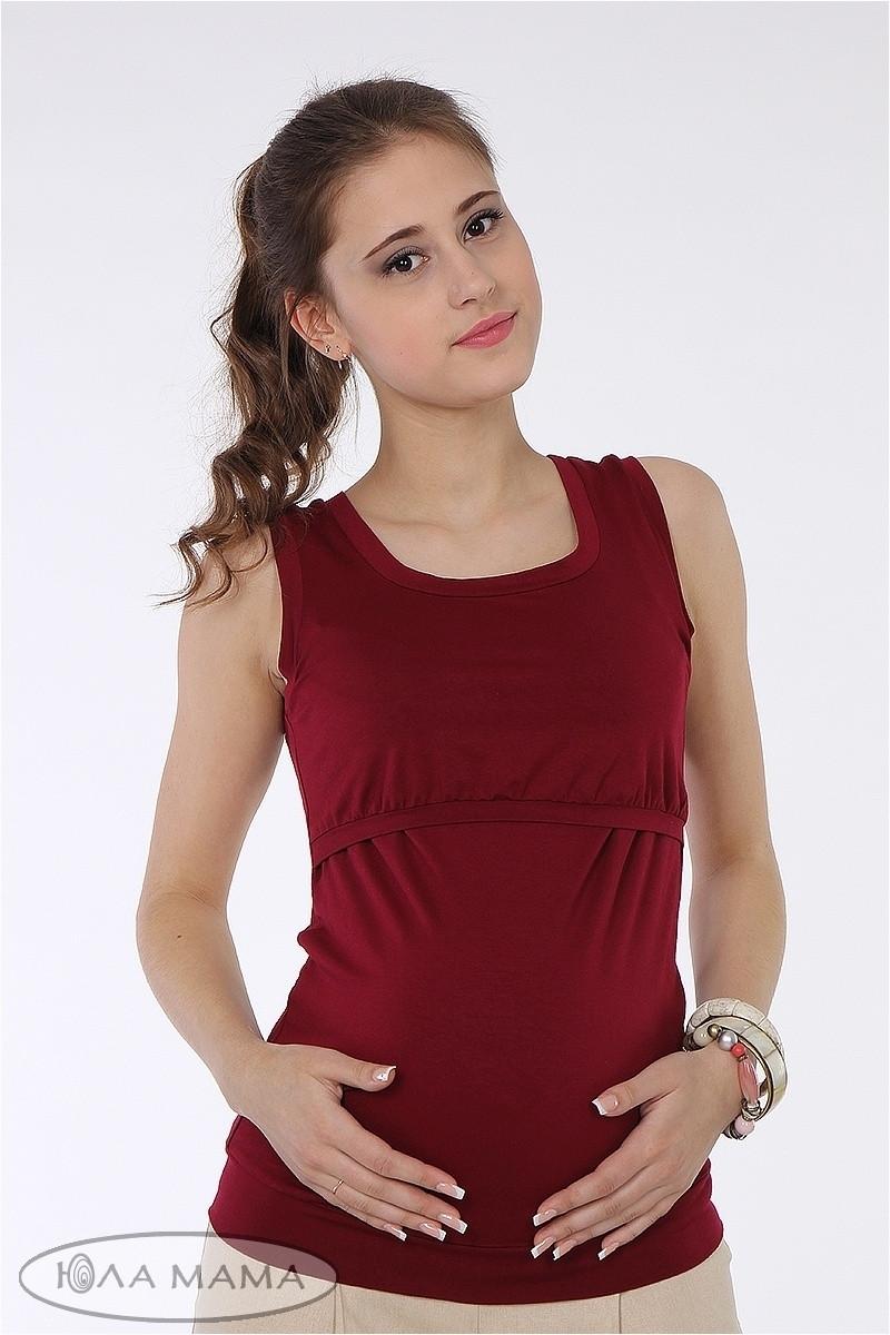 Майка для беременных и кормящих Lisa ЮЛА МАМА (бордо, размер S)