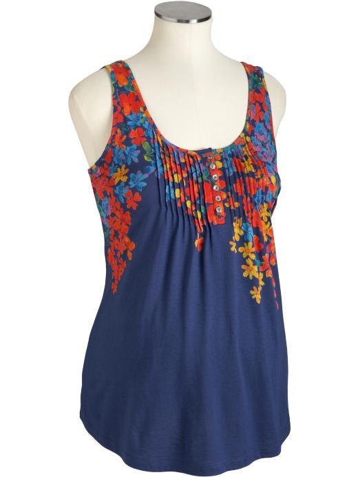 Майка цветы с пуговками для беременных OLD NAVY (синяя, размер S)