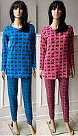 Пижама из трикотажа с начесом и новогодним принтом 42-52 р, пижамы для беременныхоптом от производителя