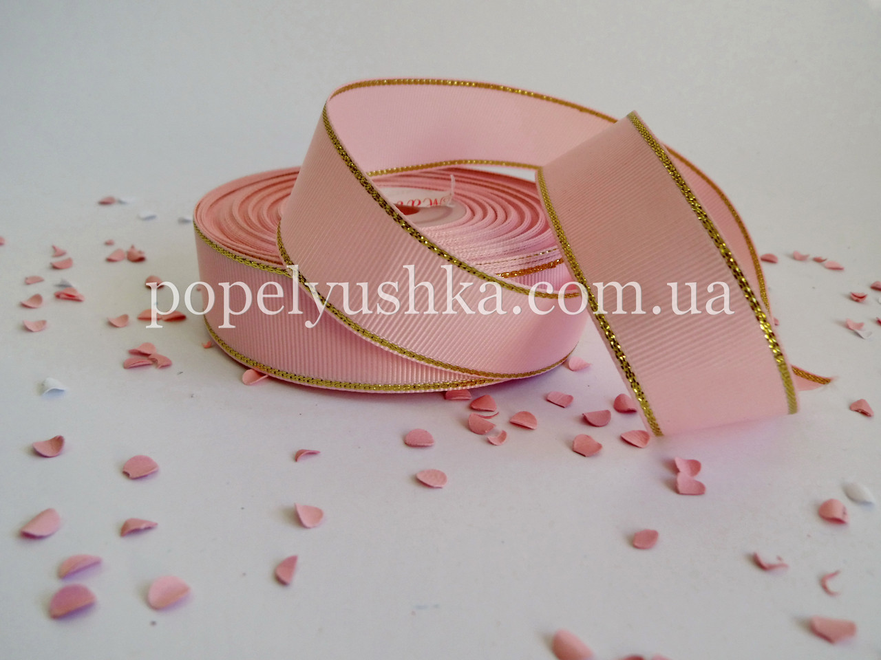 Стрічка репсова з золотим люрексом 2,5 см рожева
